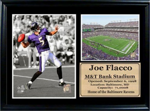 "Baltimore Ravens 12"" x 18"" Joe Flacco Photo Stat Frame"