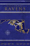 "Baltimore Ravens 17"" x 26"" Coordinates Sign"