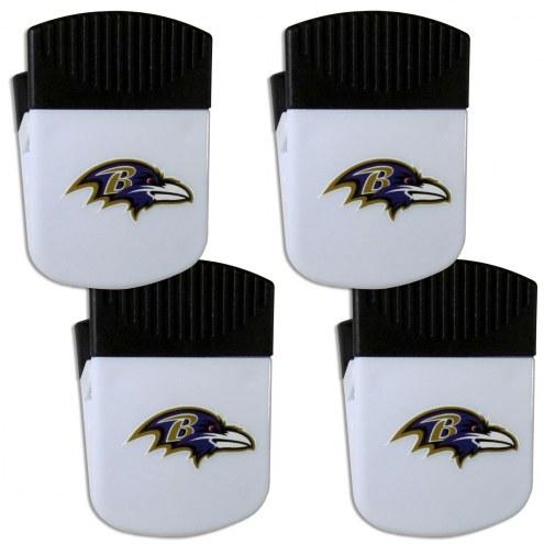 Baltimore Ravens 4 Pack Chip Clip Magnet with Bottle Opener