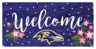 "Baltimore Ravens 6"" x 12"" Floral Welcome Sign"