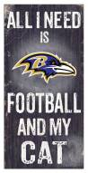 "Baltimore Ravens 6"" x 12"" Football & My Cat Sign"