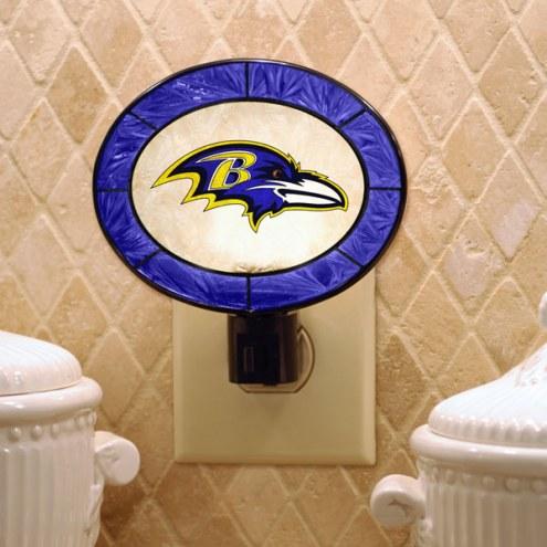 Baltimore Ravens Art Glass Night Light
