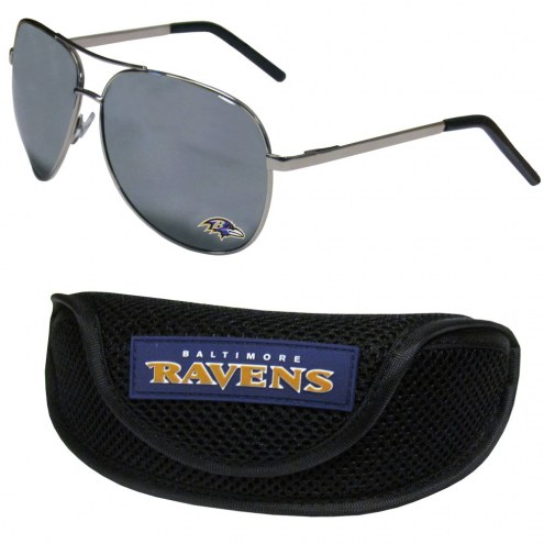 Baltimore Ravens Aviator Sunglasses and Sports Case