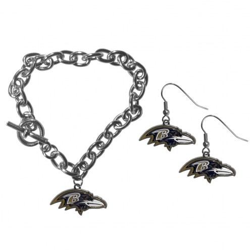 Baltimore Ravens Chain Bracelet & Dangle Earring Set