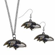 Baltimore Ravens Dangle Earrings & Chain Necklace Set