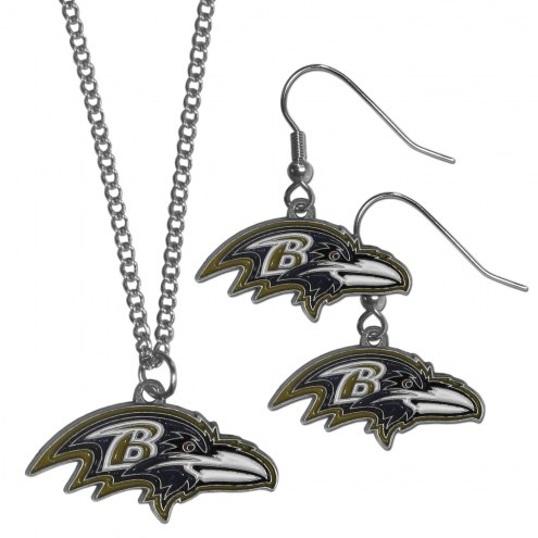 Baltimore Ravens Dangle Earrings & Chain Necklace Set