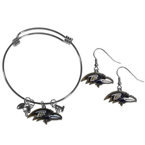 Baltimore Ravens Dangle Earrings & Charm Bangle Bracelet Set
