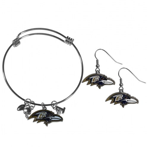 Baltimore Ravens Dangle Earrings & Charm Bangle Bracelet Set