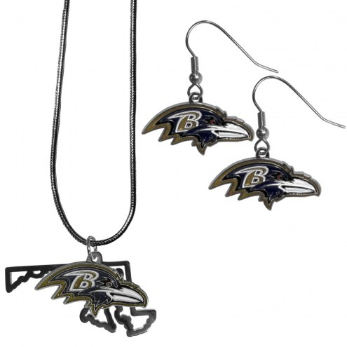 Baltimore Ravens Dangle Earrings & State Necklace Set