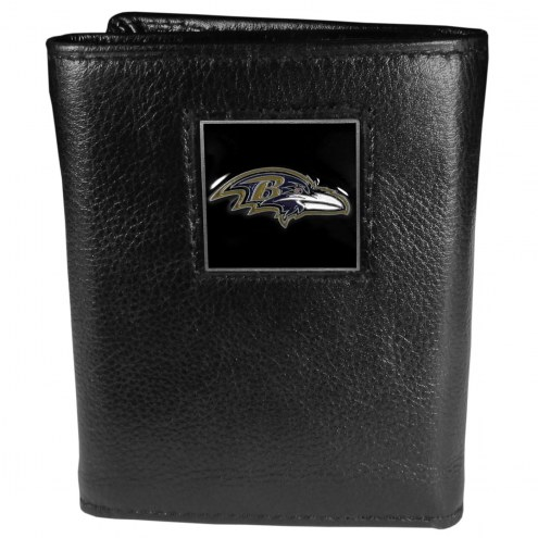 Baltimore Ravens Deluxe Leather Tri-fold Wallet in Gift Box