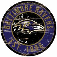 Baltimore Ravens Distressed Round Sign