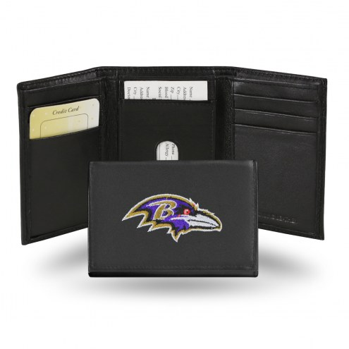 Baltimore Ravens Embroidered Leather Tri-Fold Wallet