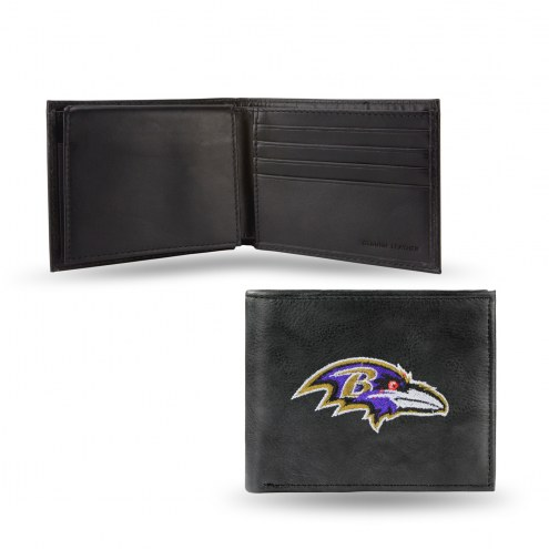 Baltimore Ravens Embroidered Leather Billfold Wallet