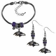 Baltimore Ravens Euro Bead Earrings & Bracelet Set
