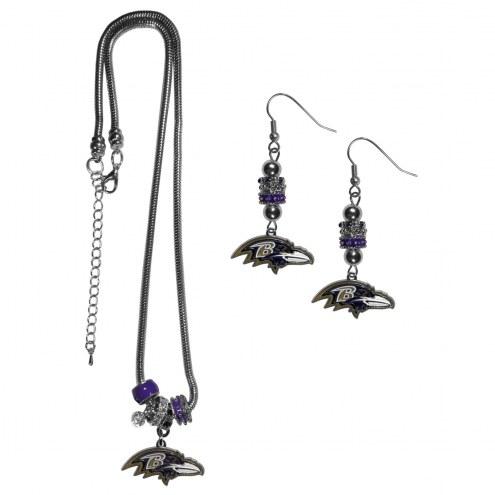 Baltimore Ravens Euro Bead Earrings & Necklace Set
