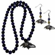 Baltimore Ravens Fan Bead Earrings & Necklace Set