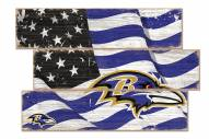 Baltimore Ravens Flag 3 Plank Sign