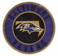 Baltimore Ravens Round State Wood Sign