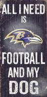 Baltimore Ravens Football & Dog Wood Sign