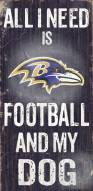 Baltimore Ravens Football & Dog Wood Sign