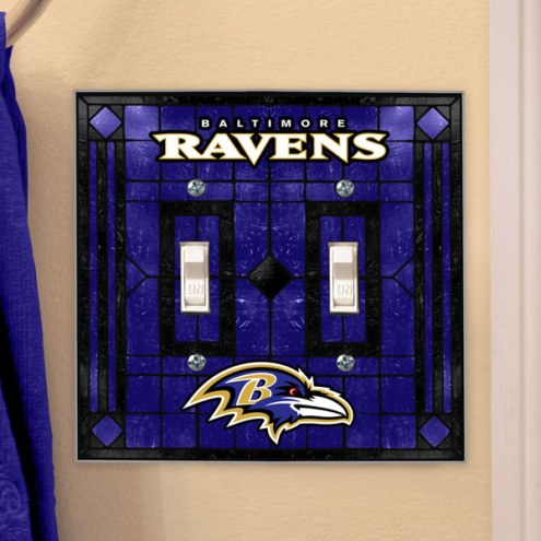 Baltimore Ravens Glass Double Switch Plate Cover