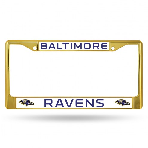 Baltimore Ravens Gold Colored Chrome License Plate Frame