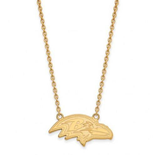 Baltimore Ravens Sterling Silver Gold Plated Large Pendant with Necklace