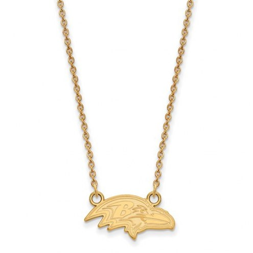 Baltimore Ravens Sterling Silver Gold Plated Small Pendant with Necklace