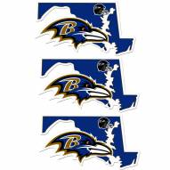Baltimore Ravens Home State Decal - 3 Pack