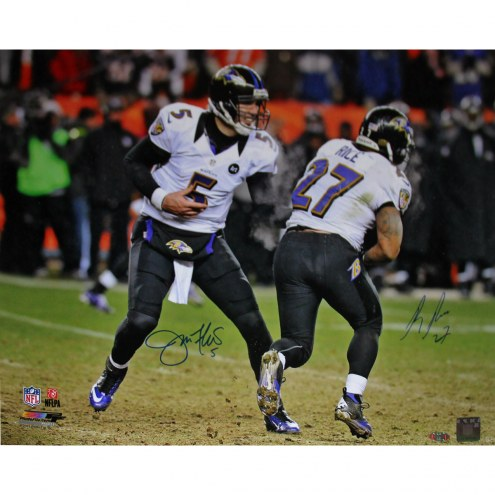 "Baltimore Ravens Joe Flacco/Ray Rice Handoff Signed 16"" x 20"" Photo"