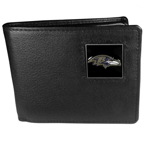 Baltimore Ravens Leather Bi-fold Wallet in Gift Box