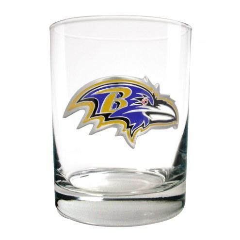 Baltimore Ravens Logo Rocks Glass - Set of 2