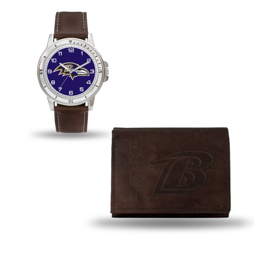 Baltimore Ravens Men's Niles Watch & Wallet Set