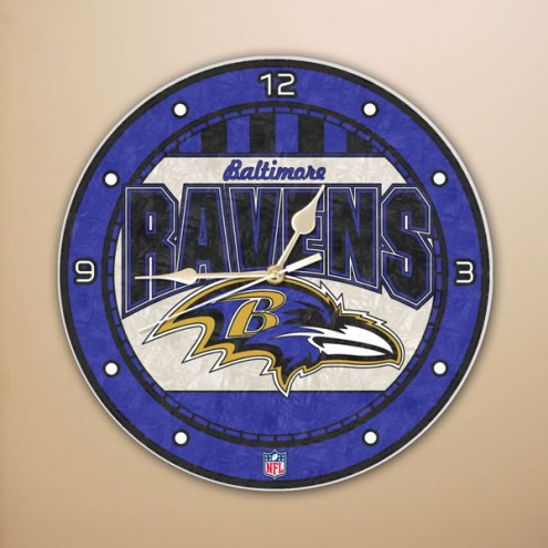Baltimore Ravens NFL Stained Glass Wall Clock