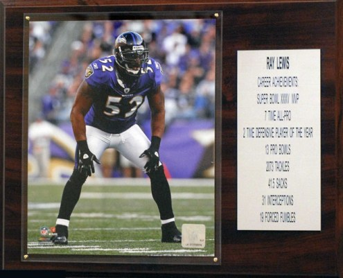 "Baltimore Ravens Ray Lewis 12"" x 15"" Career Stat Plaque"