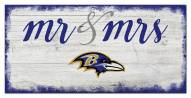 Baltimore Ravens Script Mr. & Mrs. Sign