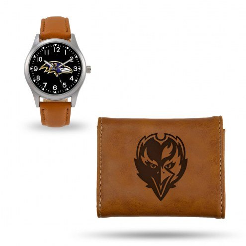 Baltimore Ravens Sparo Brown Watch & Wallet Gift Set