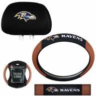 Baltimore Ravens Steering Wheel & Headrest Cover Set