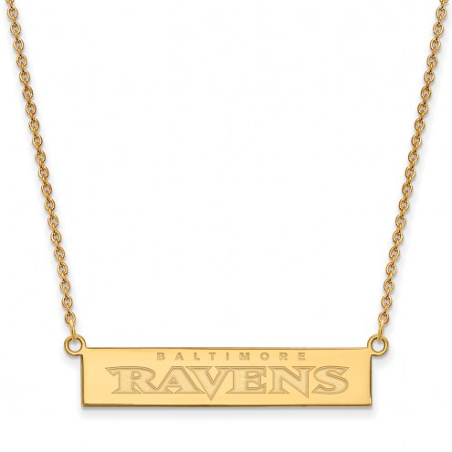 Baltimore Ravens Sterling Silver Gold Plated Bar Necklace