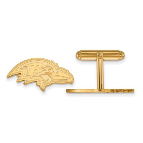 Baltimore Ravens Sterling Silver Gold Plated Cuff Links