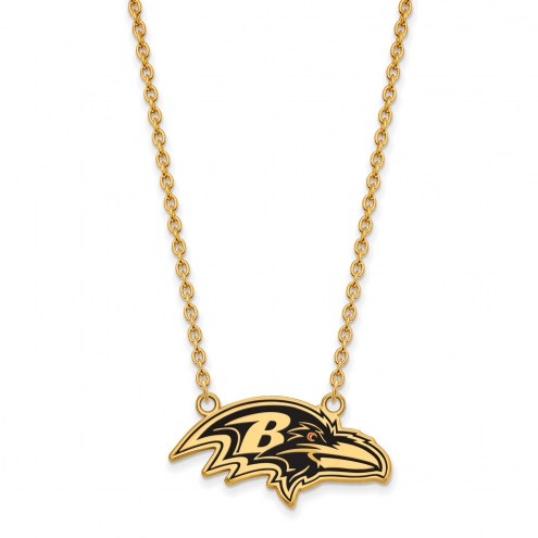 Baltimore Ravens Sterling Silver Gold Plated Large Pendant Necklace