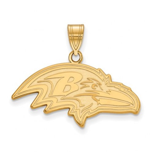 Baltimore Ravens Sterling Silver Gold Plated Large Pendant