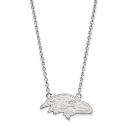 Baltimore Ravens Sterling Silver Large Pendant with Necklace