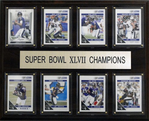 "Baltimore Ravens 12"" x 15"" Super Bowl XLVII 8 Card Plaque"