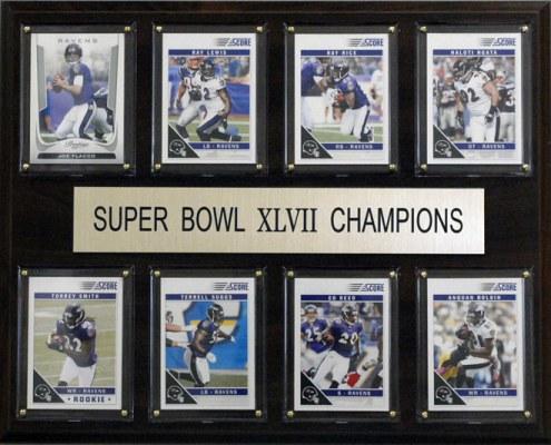 "Baltimore Ravens 12"" x 15"" Super Bowl XLVII 8 Card Plaque"