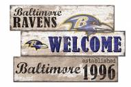 Baltimore Ravens Welcome 3 Plank Sign