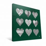 "Baylor Bears 12"" x 12"" Hearts Canvas Print"