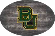 """Baylor Bears 46"""" Distressed Wood Oval Sign"""