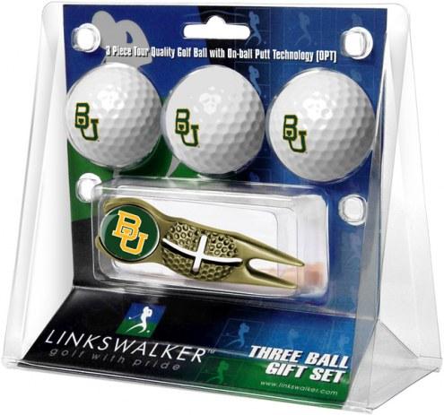 Baylor Bears Gold Crosshair Divot Tool & 3 Golf Ball Gift Pack