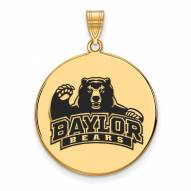 Baylor Bears Sterling Silver Gold Plated Extra Large Enameled Disc Pendant